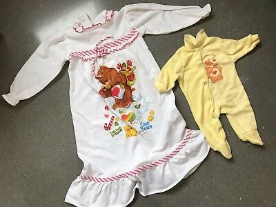 Vintage 1980s Care Bear Child Pajamas and Infant Pajamas with Tenderheart