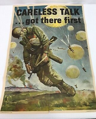 """Original 1944 WWII US Army Paratrooper """"Careless Talk....Got There First"""" Poster"""