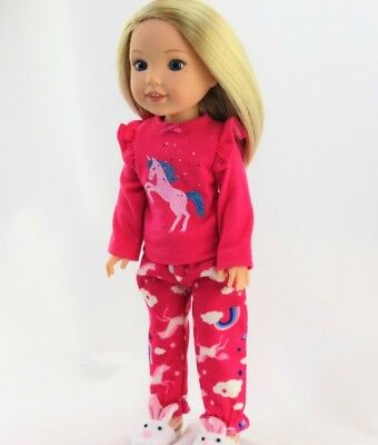 """Doll Clothes 14.5"""" Pajamas Unicorn Pink Fit 14.5"""" AG WELLIE WISHER DOLLS"""