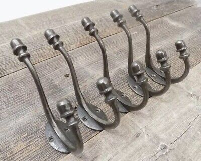 5 Iron Acorn Style Coat Hooks Hat Rack Tree Restoration Double Long Storage Lot