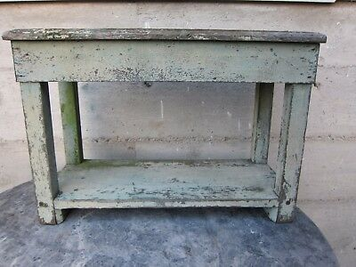 Early? Old Vintage Shabby Looking Bench/Stool Chipped Paint Dents Cuts Splits
