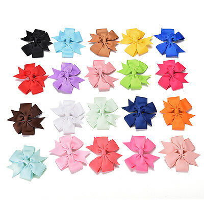 20Pcs Baby Girls Boutique Big Bow Hair Clips Grosgrain Ribbon Hairpin LJ