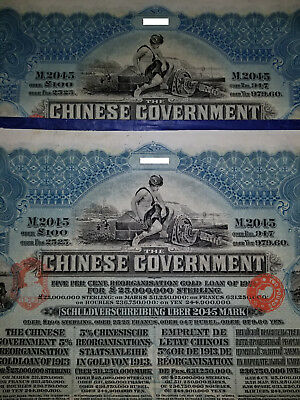 1913 Chinese reorganization gold loan bond 100L