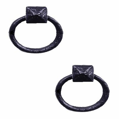 Cabinet Pull Wrought Iron Ring Pull Door Black Rustproof 1-7/8 in Dia Set of 2