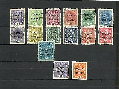 poland, lot set old stamps 1919 , used & Mnh ** 1918