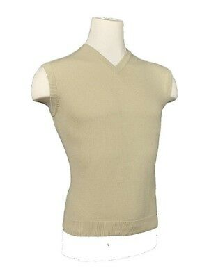 (Small) - Women's Argyle Golf Sweater Vest - Solid Khaki. Kings Cross Knickers