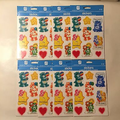 Lot of 8 NEW Vintage 80s Care Bears Stickers 4 Sheets Per Pack 288 Total Sealed