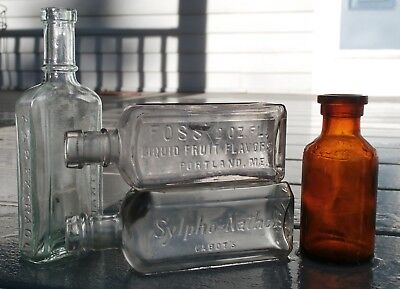 Antique Lot Of Four Embossed Mixed Product -Medicine Bottles