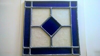 """Vintage Blue & Frost Leaded Stained Glass 10"""" x 10"""""""