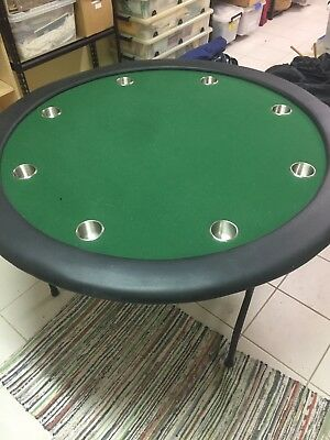 8 Seat Poker Table Folding Metal Legs Rarely Used IncTable Cover and Cup Holders