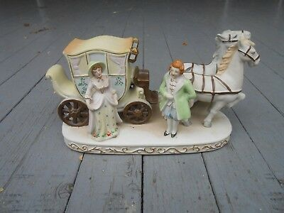 Vintage Antique Made In Occupied Japan Bisque Statue Figurine Horse Carriage