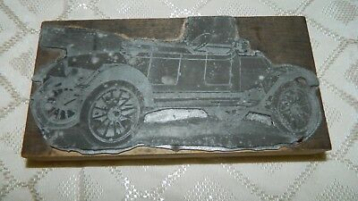rare METZ Car Printer's Block READ AUTO COMPANY Detroit Michigan ANTIQUE