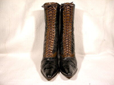 Antique Victorian Era Black Leather Lace Up Boots Eu38