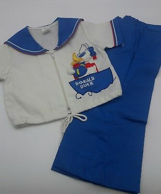 Vintage baby toddler disney donald duck  cotton top bottom