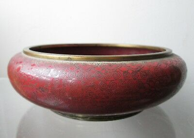 Antique RED CINNABAR COLOR Chinese QING DYNASTY CLOISONNE Brush Washer BOWL