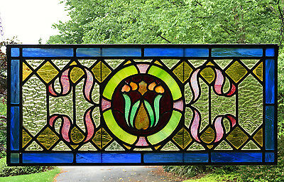 Stained Glass ANTIQUE Hanging Window Panel - LOVELY FLORAL DESIGN Leaded -Lot#3