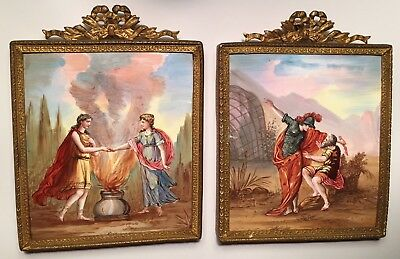 Two Antique Hand Painted Enamel Copper Picture Framed Plaque Minerva