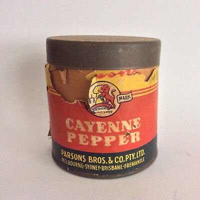Vintage Australian PARSONS CAYENNE PEPPER TIN rare 40s grocery store advertising