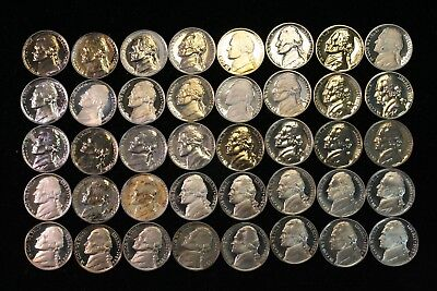 JEFFERSON NICKEL (5c) Proof Roll With Problems Rejects 40 US Coins #2