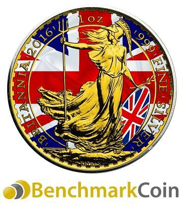 2016 UK Patriotic Flag Britannia 1oz .999 Silver Coin - 24kt Gold Gilded