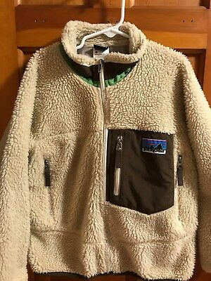 Patagonia Retro-X Fleece Jacket Cream Beige Brown Tan Lined Kids Size Small (8)