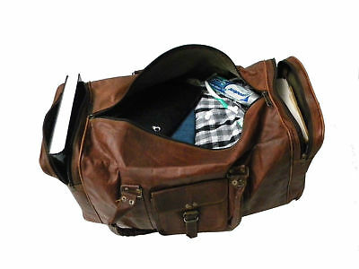 "Men's New Goat Hide 20"" Luggage Duffle Travel Weekend Sport Gym Holdall Real Bag"