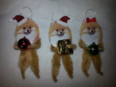 Vtg Style Christmas Pomeranian Dog 3 Boxed Ornaments Feather Tree