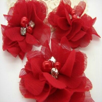 Red Chiffon Flower with Bead Centre x 2 RNB