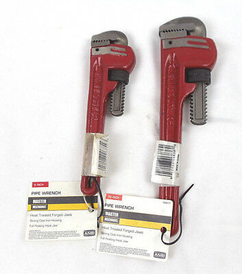"""Master Mechanic 8"""" & 10"""" Heavy Duty Pipe Wrenches 261123 & 106617"""