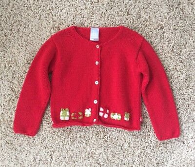 Bella Bliss Girls Size 5 Red Christmas Presents Cardigan Sweater.