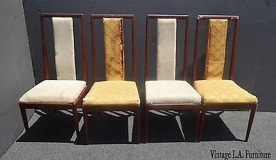 Four Vintage Mid-Century Modern Walnut Wood Dining Chairs For Refurbish