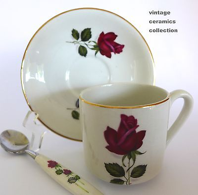 1940s Vintage MYOTT Staffordshire China Red Roses DUO Cup Saucer & Teaspoon