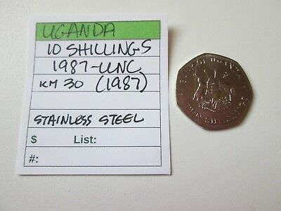 Single coin from UGANDA, 10 shillings, 1987, UNC, Km 30 (1987)