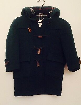Burberry Childrens Wool Forest Green Duffle Coat with Hood Check Lined  Size 6/7