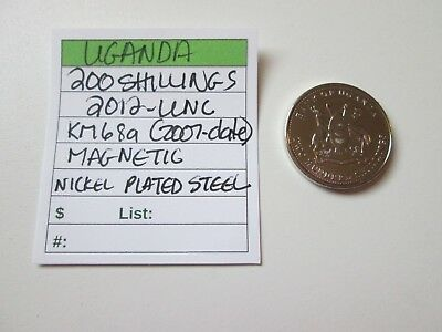 Single coin from UGANDA, 200 shillings, 2012, UNC, Km 68a (2007-date)