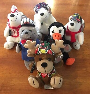 Lot of 6 Collectible Coca Cola Brand Bean Bag Plush Beanies Polar Bear Reindeer