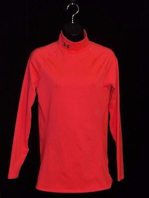 Women's Under Armour Cold Gear Mock Fitted Shirt Bright Pink MED NWOT