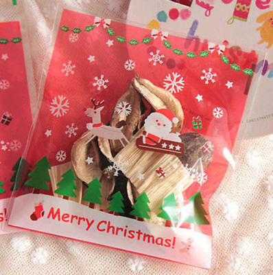 100 Christmas Cellophane Treat Bags Sweet Biscuit Cookie