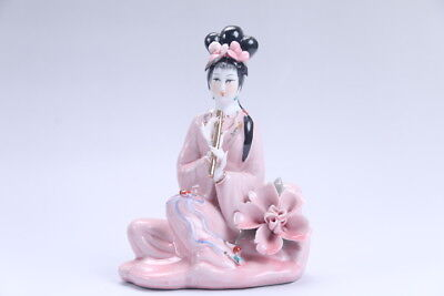Exquisite Chinese hand carved Enamel porcelain beautiful woman statue aa02