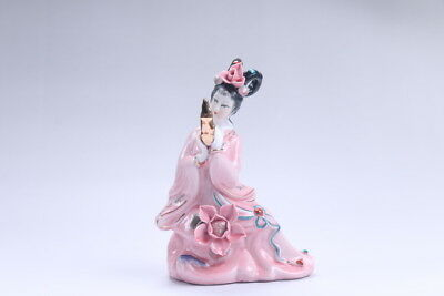 Exquisite Chinese hand carved Enamel porcelain beautiful woman statue aa04