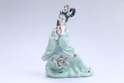 Exquisite Chinese hand carved Enamel porcelain beautiful woman statue aa07