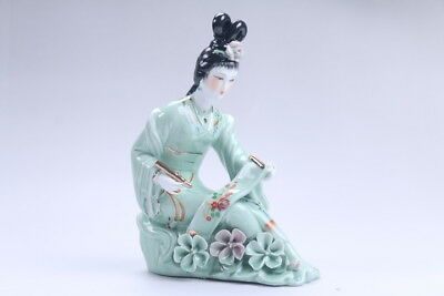 Exquisite Chinese hand carved Enamel porcelain beautiful woman statue aa10