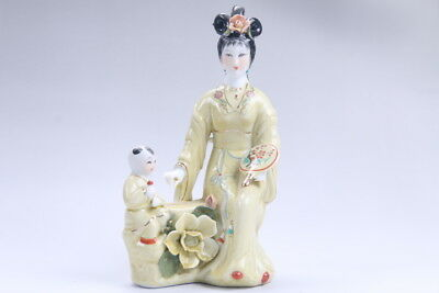 Exquisite Chinese hand carved Enamel porcelain beautiful woman statue aa11