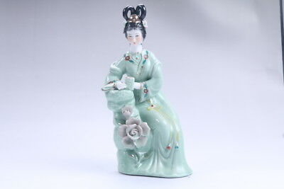 Exquisite Chinese hand carved Enamel porcelain beautiful woman statue aa12