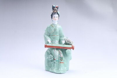 Exquisite Chinese hand carved Enamel porcelain beautiful woman statue aa13