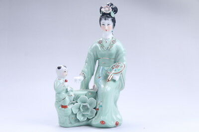 Exquisite Chinese hand carved Enamel porcelain beautiful woman statue aa15