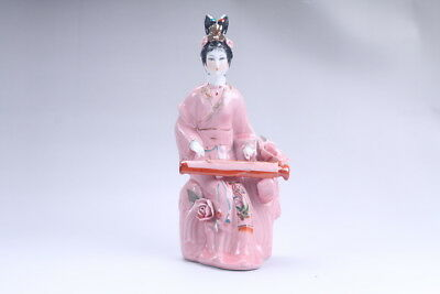 Exquisite Chinese hand carved Enamel porcelain beautiful woman statue aa17