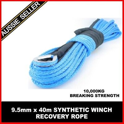 9.5mm x 40M SYNTHETIC WINCH RECOVERY ROPE 4X4 4WD OFFROAD CAR TOW FITS WARN ARB