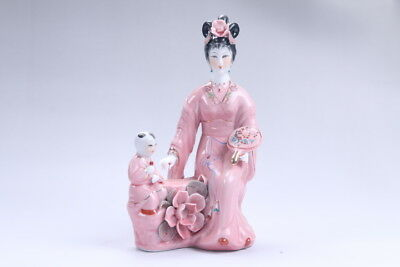 Exquisite Chinese hand carved Enamel porcelain beautiful woman statue aa19