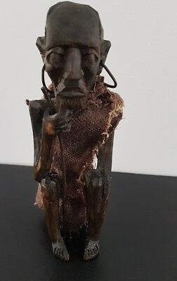 AFRICAN Hand Carved WOODEN STATUE - Man sitting with stick – KENYA
